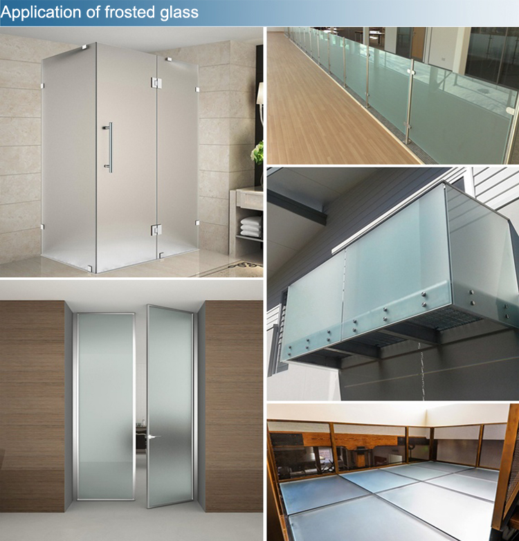 5mm 6mm low iron tempered frosted glass for shower room
