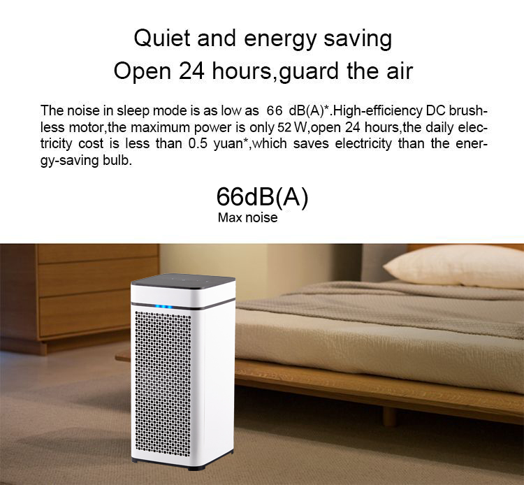 Household air purifier with HEPA filter