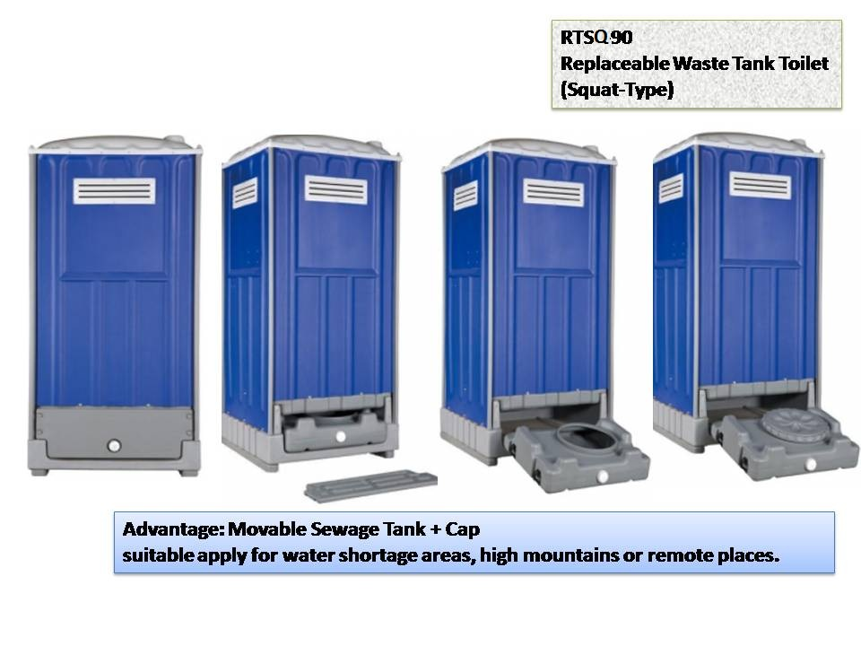 Intergated Portable Toilet For Outdoor Change Sewage Replaceable Waste Tank Toilet SquatType RTSQ90