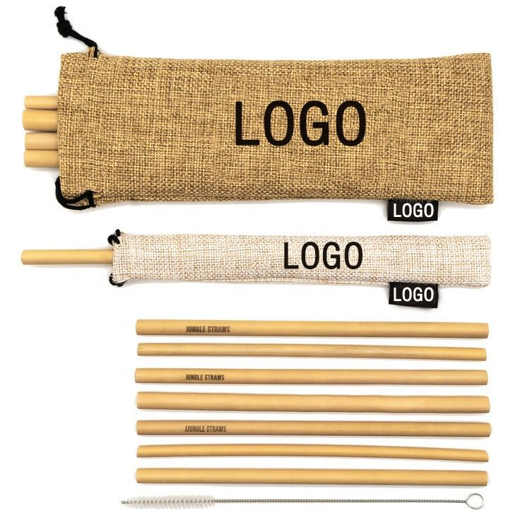 eco friendly 100 biodegradable bamboo straw custom logo bamboo drinking straw with cleaning brush