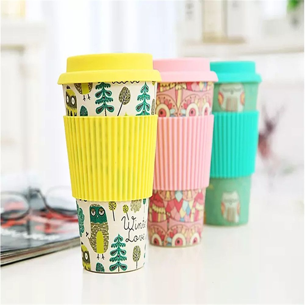 eco friendly 100 biodegradable bamboo fiber coffee cup custom logo
