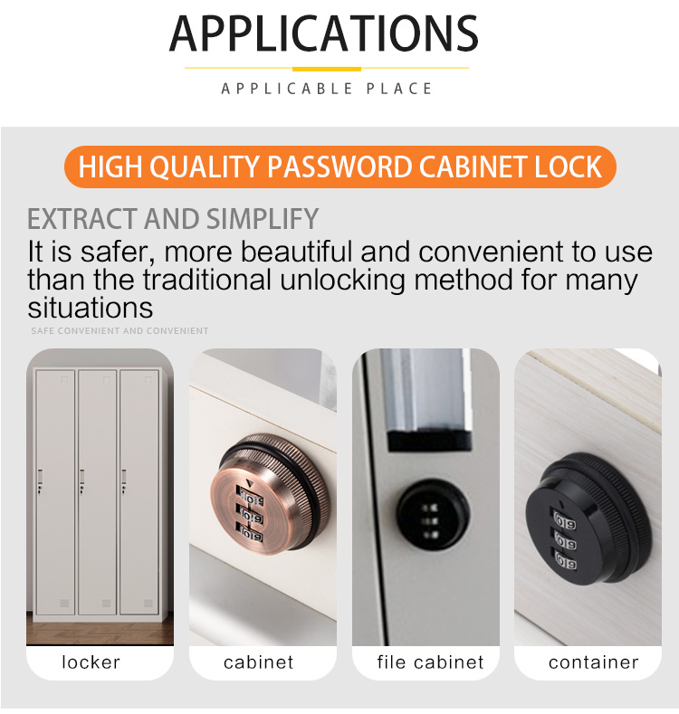 Factory Supply Round Cabinet Combination Lock Tool Box Lock Zinc Alloy Fixed Furniture Lock with XMM5022