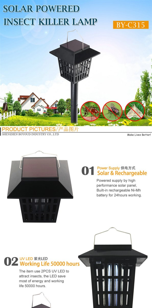 Outdoor Rechargeable UV LED Solar Mosquito Killer Lamp