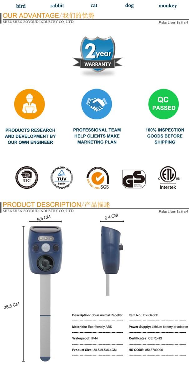 Multifunctional Waterproof Solar Sounds Animal Bird Repeller with PIR Sensor