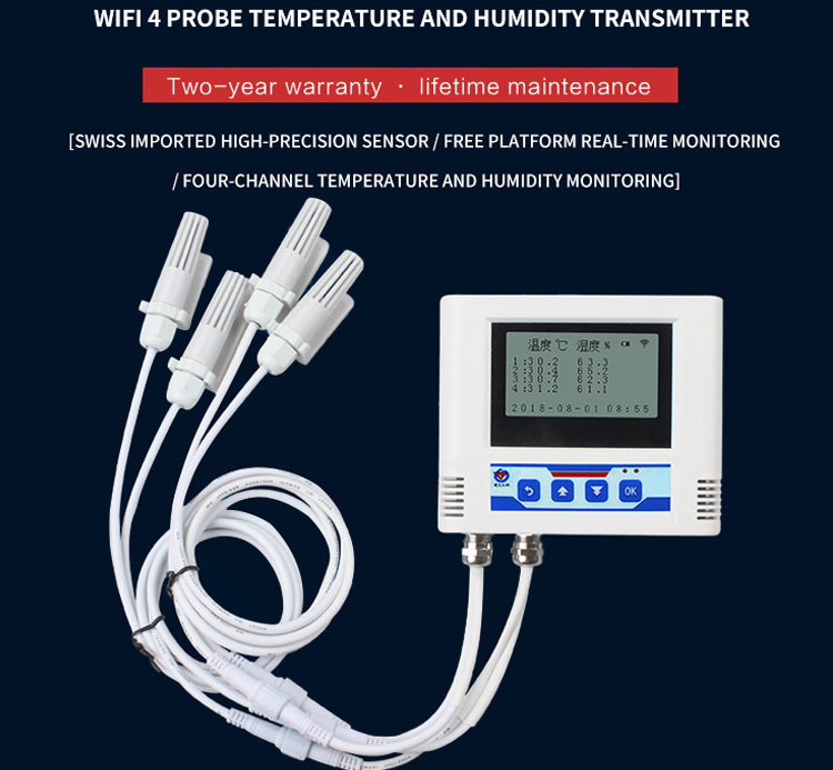 Industrial WiFi multiprobe remote temperature and humidity transmitter