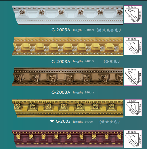 Popular design PU foam cornice for home decoration