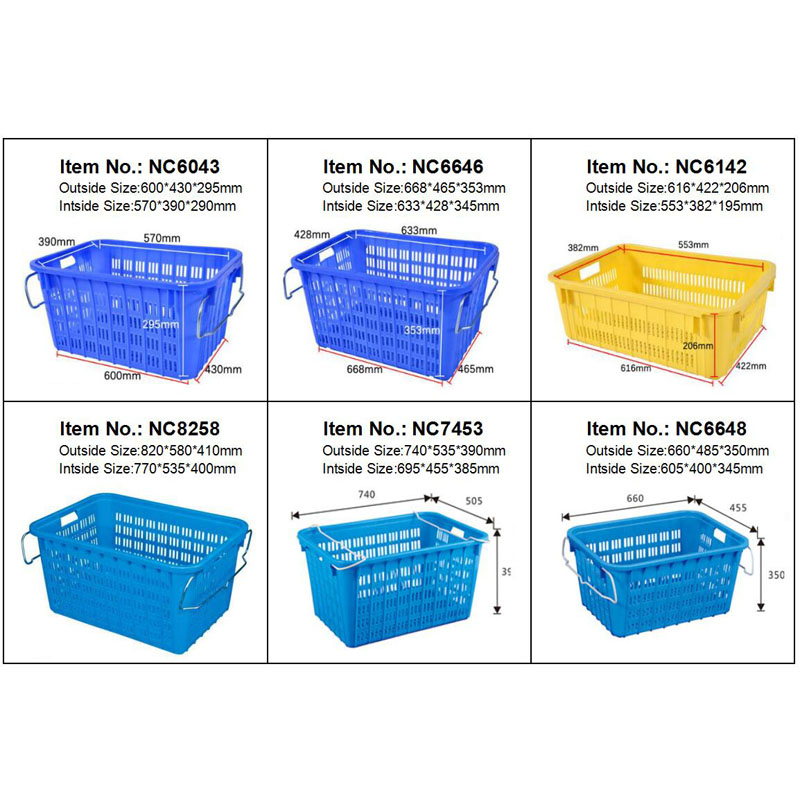 630425204mm plastic crate for Vegetables and fruits stackable and nestable plastic basket with metal handle