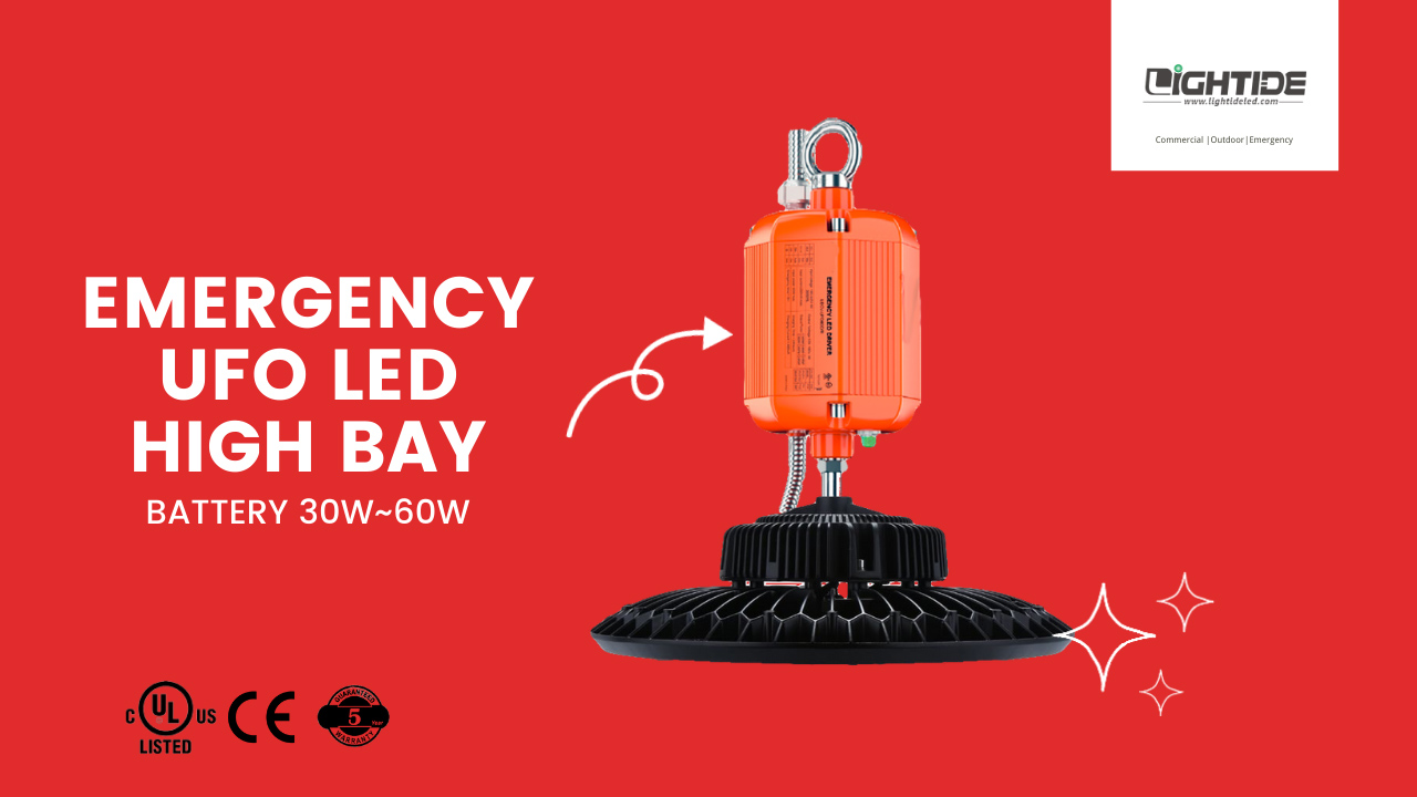 Lightide Battery Operated LED High Bay Lights Emergency Backup 150W 5 years Warranty