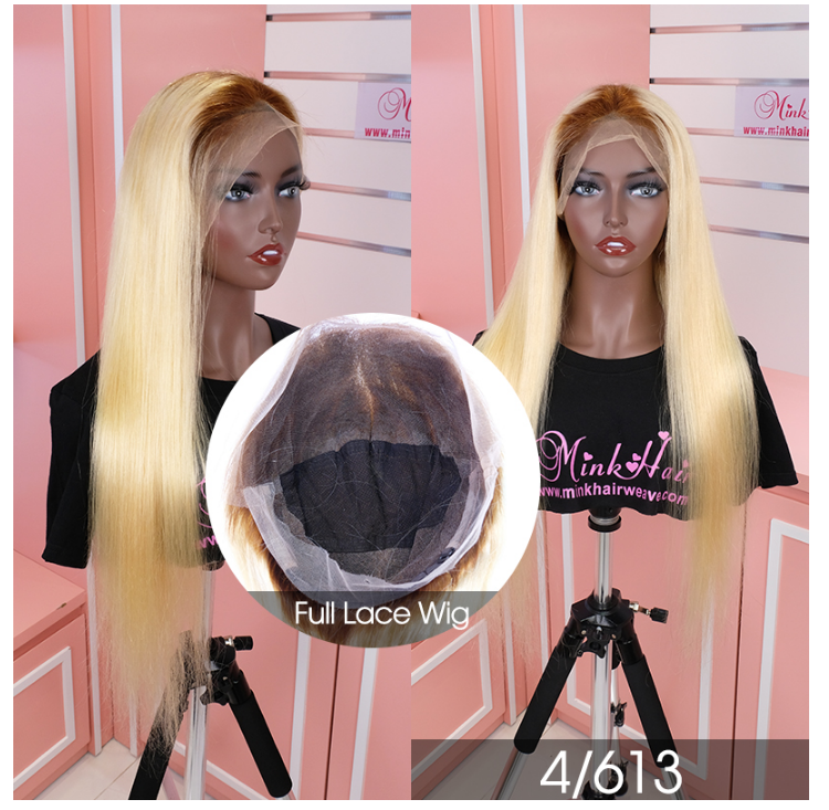 150 Density Virgin Human Hair Blonde Ombre Color Wig Lace 1B613 Transparent Lace Wig