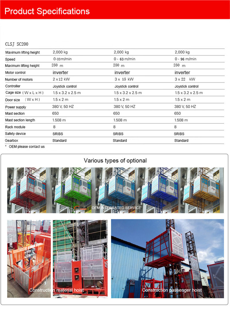 OEM Available Construction Lift Building HoistLift HoistRack and Pinion Elevator
