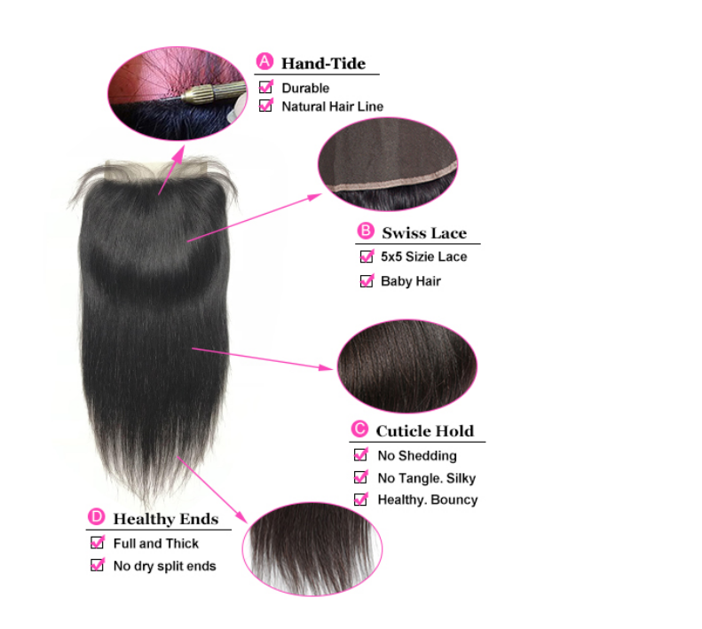 Mink Brazilian Brown Lace 55 Human Hair 150 Density PrePlucked With Baby Hair Lace closure
