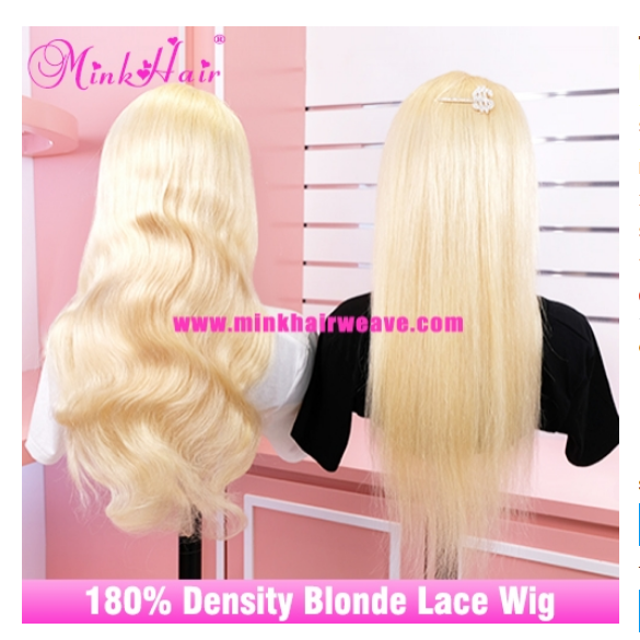 Mink Brazilian Hair 10A Human Hair Blonde Wig 180 Density Transparent Lace Front Wig