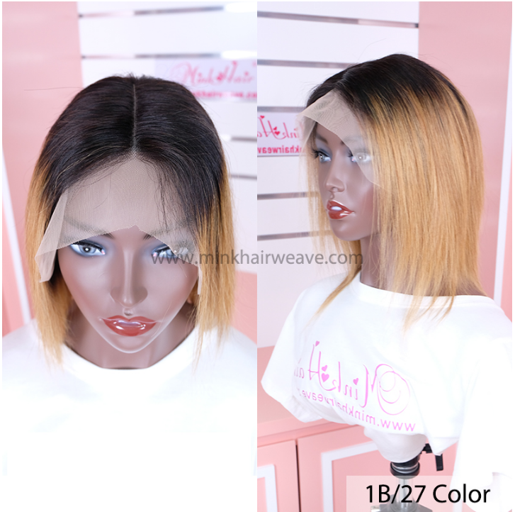 Mink Hair Weave 1B27 Ombre Color Wig 13x4 lace frontal 150 Density Lace Front Wig