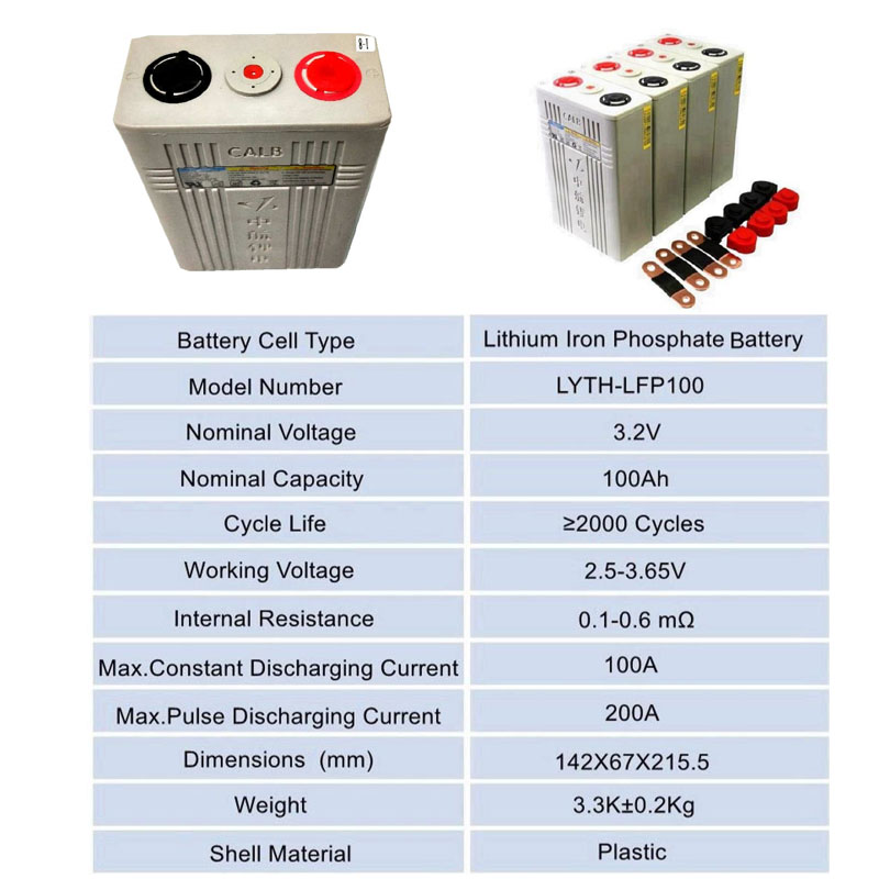Lithium Iron Phosphate Battery 32 V New LifePO4 Battery Cell 100AH for Electric Bikes or Cars