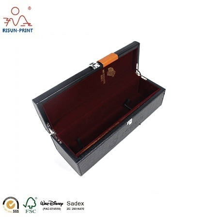 China High Glossy Wooden red wine Box with PU
