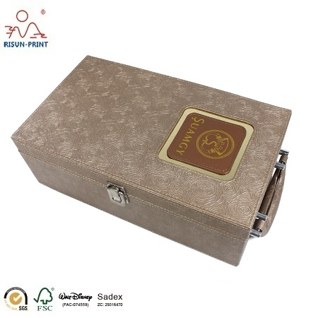 China Creative Design PU Leather Wine Gift Box for 2 Bottles