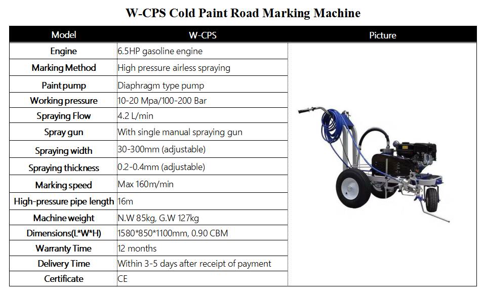 Road Marking Machine Cold Paint Line Striper Single Gun