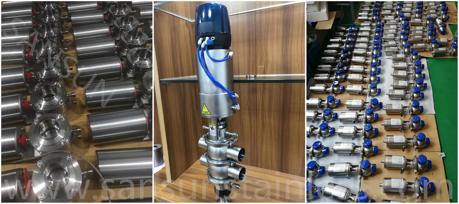 Sanitary Stainless Steel Food Grade Hygienic Pneumatic Welded Butterfly Control Valve with Blue CTop