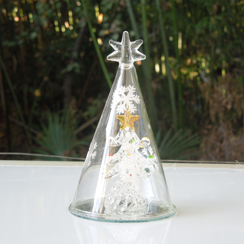 712cm Spun Glass Christmas Tree Table Decorations Mall Holiday Party Window Props