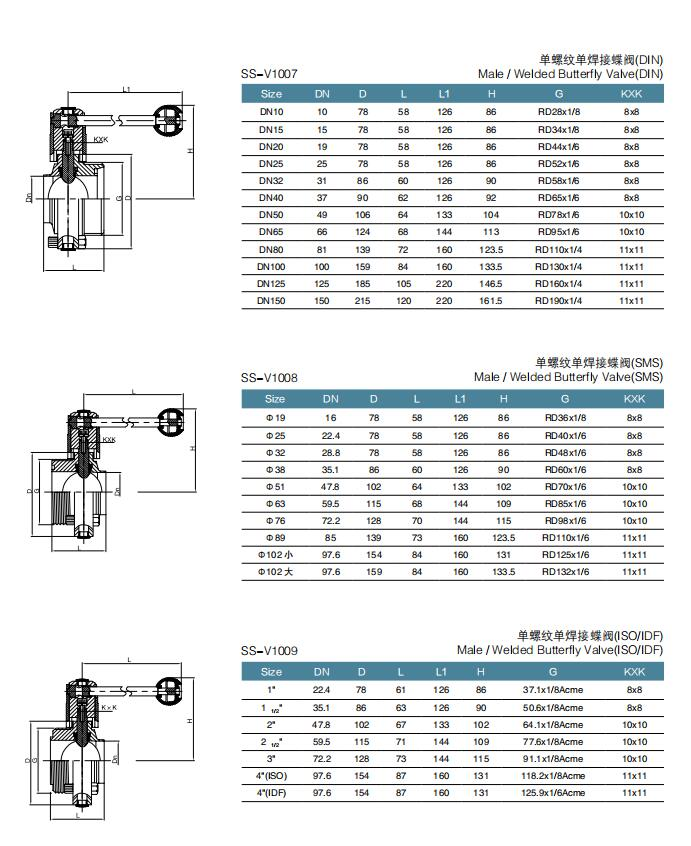 Hygienic Stainless Steel High Quality Manual MaleWeld Butterfly Valve with Stainless Handle