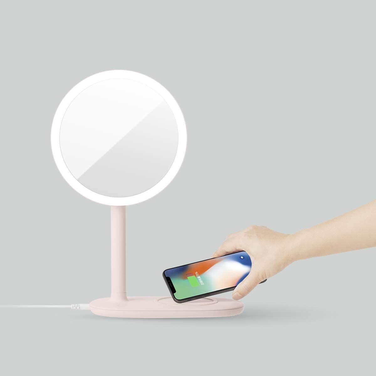 Wireless Fast Charger LED Makeup Mirror with Table Lamp