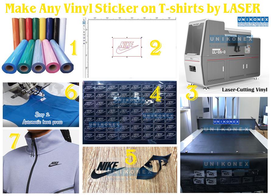 Make Any Vinyl Sticker on Tshirts by LASER