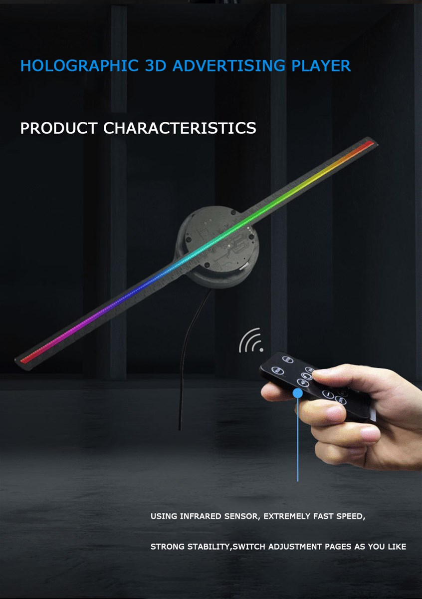 3D Hologram Projector Wifi Control Supermarket Promotion Advertising Fan Disiplayer