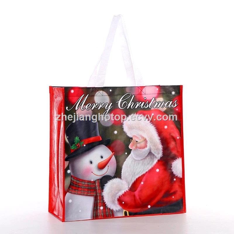 Custom Printed Eco Friendly Christmas Gift Laminated Promotional Non Woven Tote Fashion Shopping Bag
