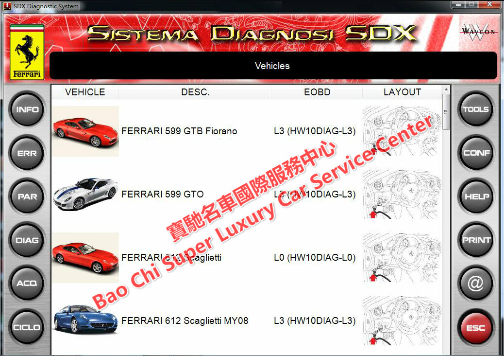 Ferrari Maserati SD2 SD3 SDX DEIS Diagnostic Tester