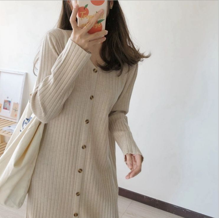 2020 New Autumn And Winter Womens Knitted With Overcoat Sweater Dress Women Over The Knee Long Skirt Loose Lazy Style D