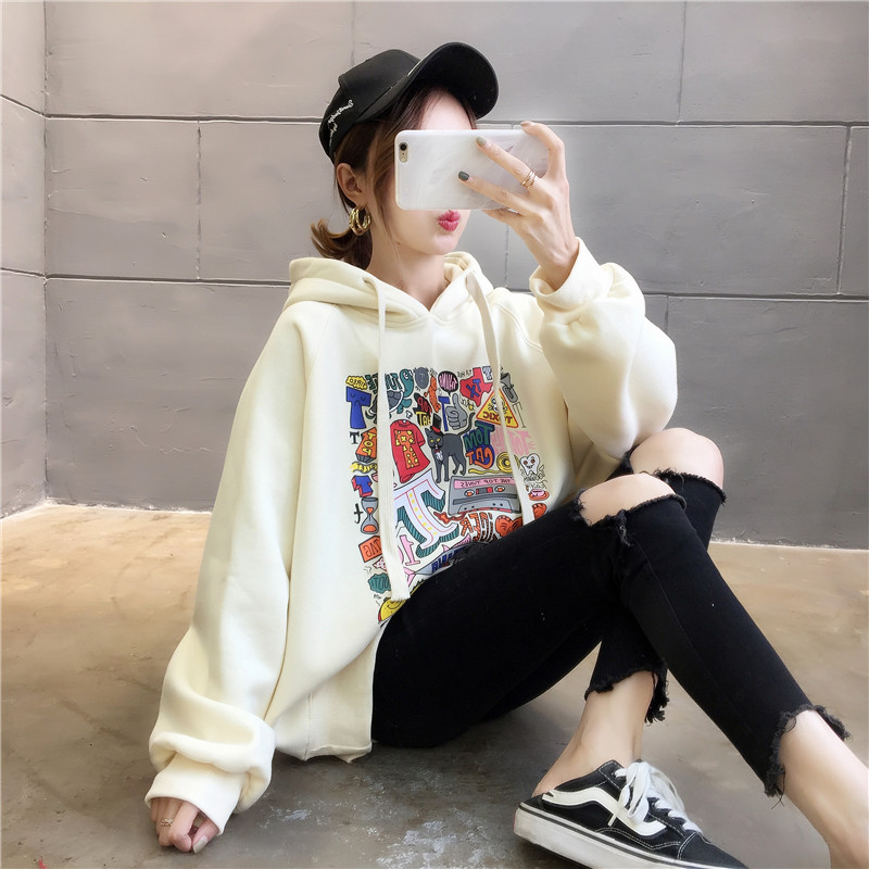 2020 New Printing Plus Cashmere Thick Hoodie Womens Sweater Loose Korean Edition