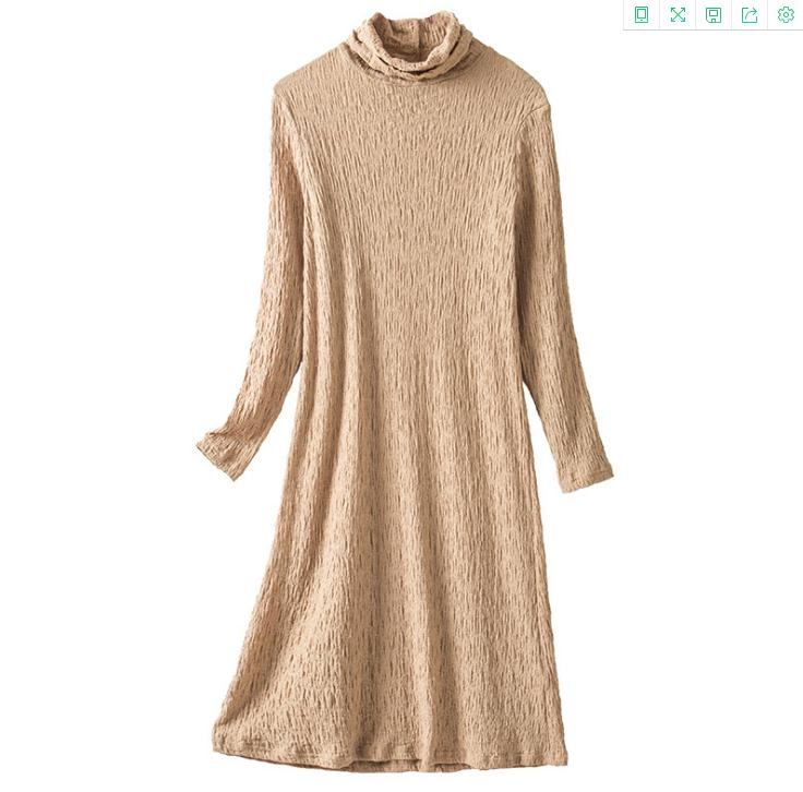 2020 new womens highneck knitted bottoming dress autumn and winter solid color longsleeved midlength skirt