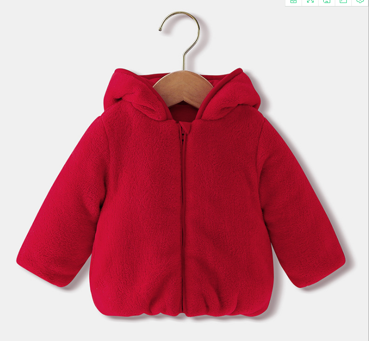 New Style Children Cotton Jacket Warm Coral Velvet Baby Rabbit Ears Baby Hooded Child Wear