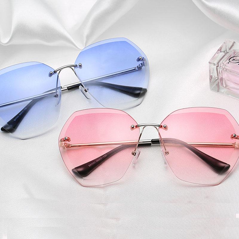 2020 Retro Sunglasses Women Brand Fashion Rimless Gradient Sun Glasses Shades Cutting Lens Ladi