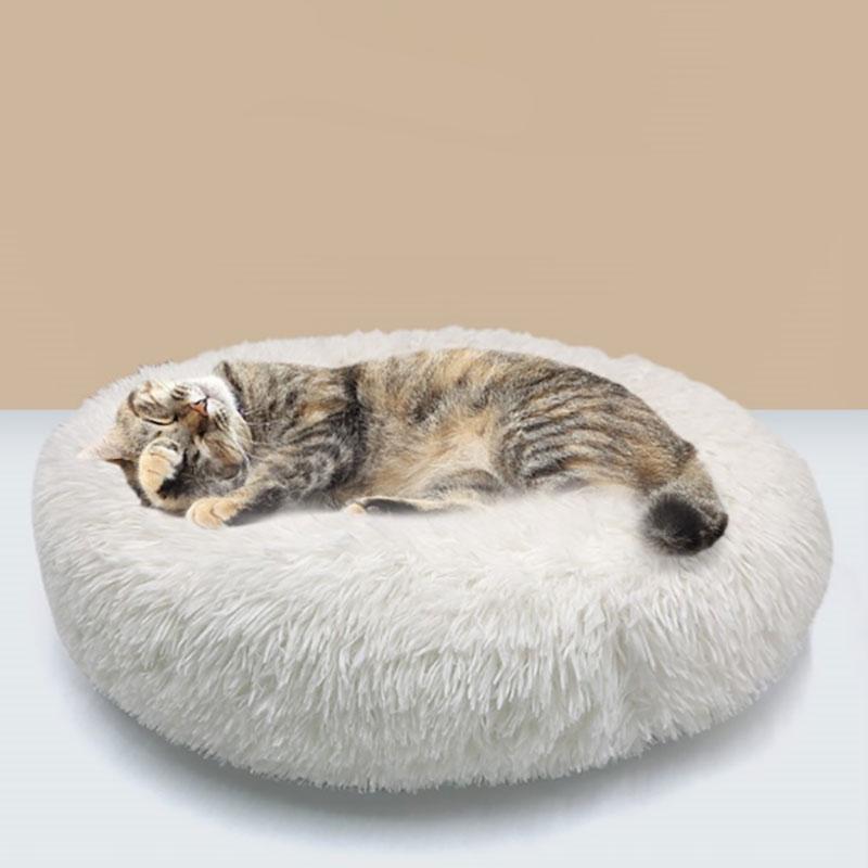 Popular Cats Nest Dog House Spot Plush Round Dog Cushion Soft Deep Sleep Warm Winter Semi Enclosed Pet Cats Nest