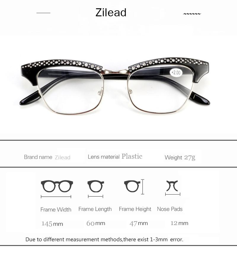 Zilead Ladys Cat Eyes Reading Glasses Women Crystal Presbyopic Glasses Hyperopia Eyeglasse10to35 Unisex 425