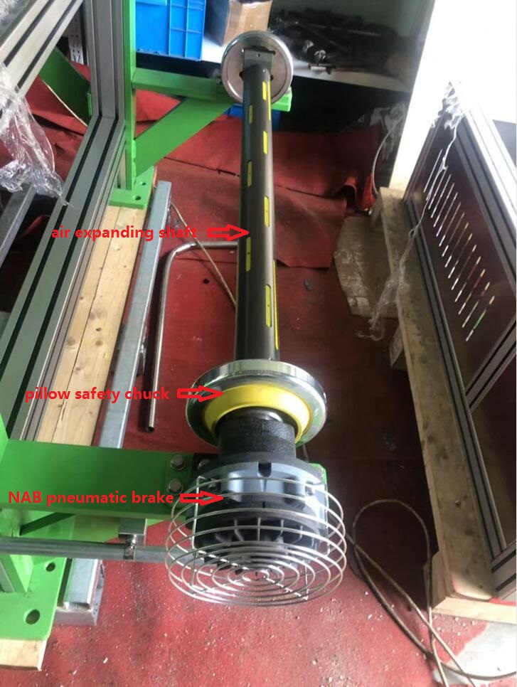seat mounted manual safety chuck and air expanding shaft