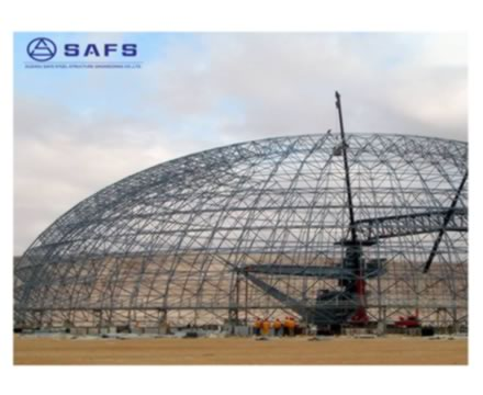 Light weight and strong stability space frame prefab modular scosteffective coal storage system design