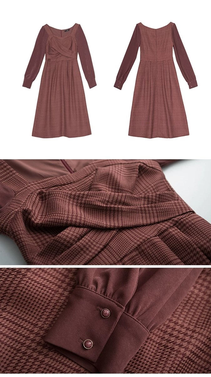 Wu Mei wine red autumn winter new style French gentle plover dress