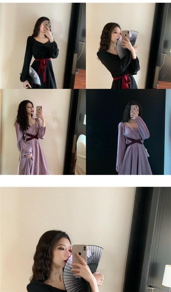 Sweet taro purple high waist gentle fairy tale wind French purple medium long dress