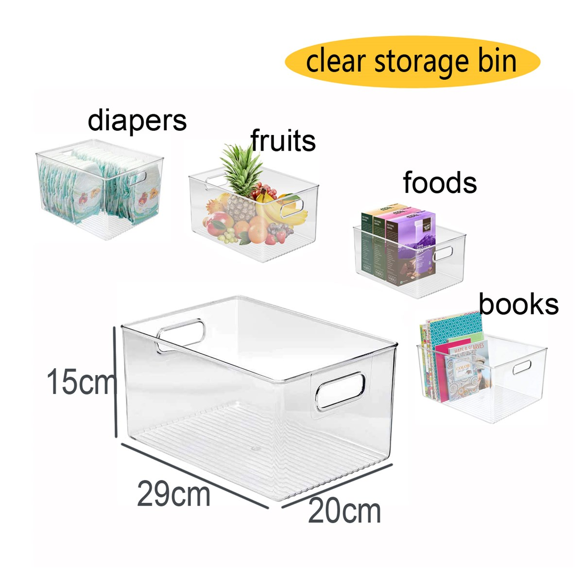 Plastic Clear Storage Bins Pantry Organizer Box Bin Containers for Organizing Kitchen Fridge Food Snack Pantry Cabinet