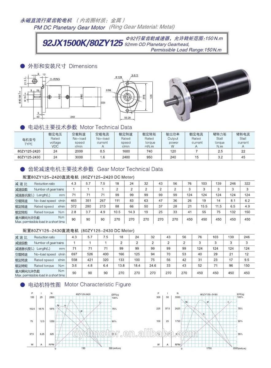 high torque DC planetary gear motor 92JX1500K80ZY125
