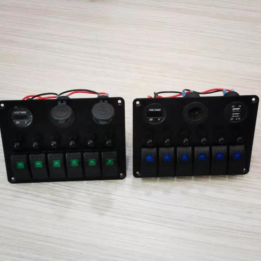 New Design 6 Gang Rocker Switch Panel Air Break Switch LED Light Power Socket Voltmeter and USB charger