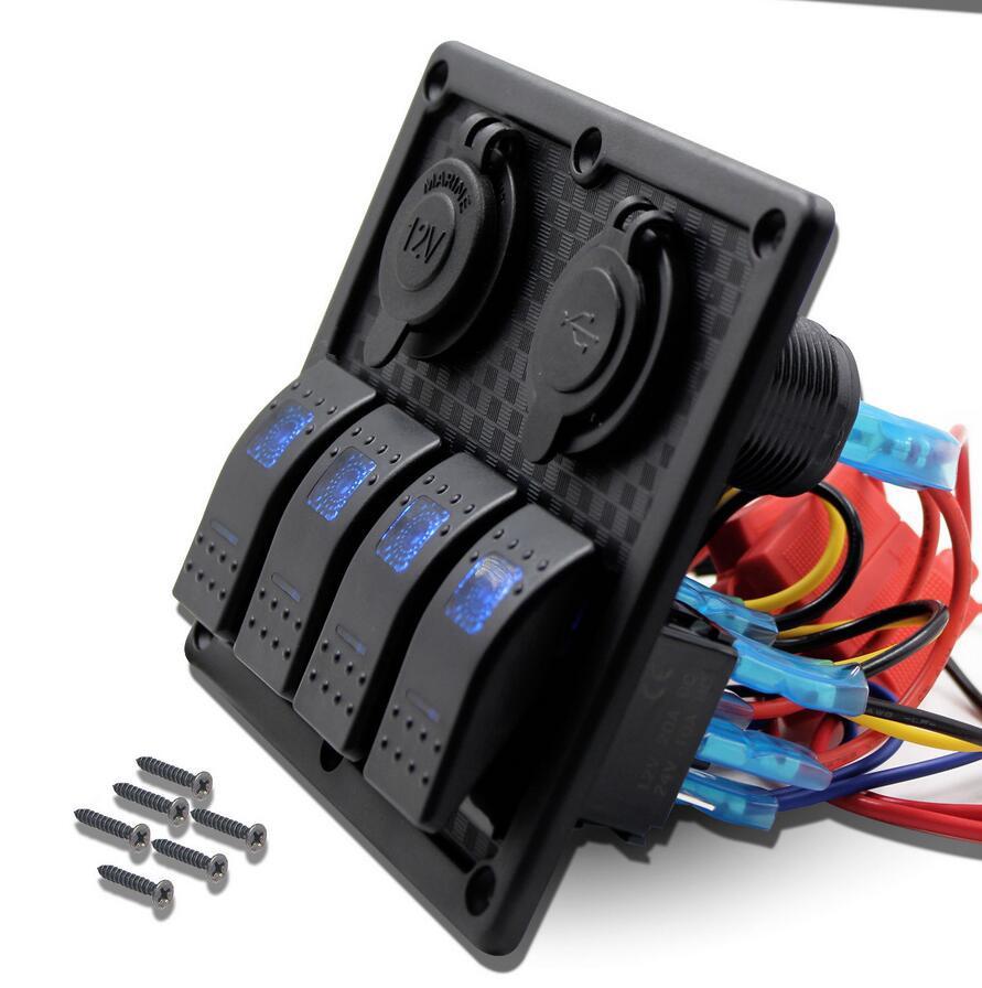 Waterproof 4 Gang Rocker Switch Panel Double USB Power Charger Adapter 12V Cigarette Lighter Socket for Marine Boat C