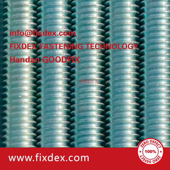 Blue white zinc plated Carbon steel threaded rod