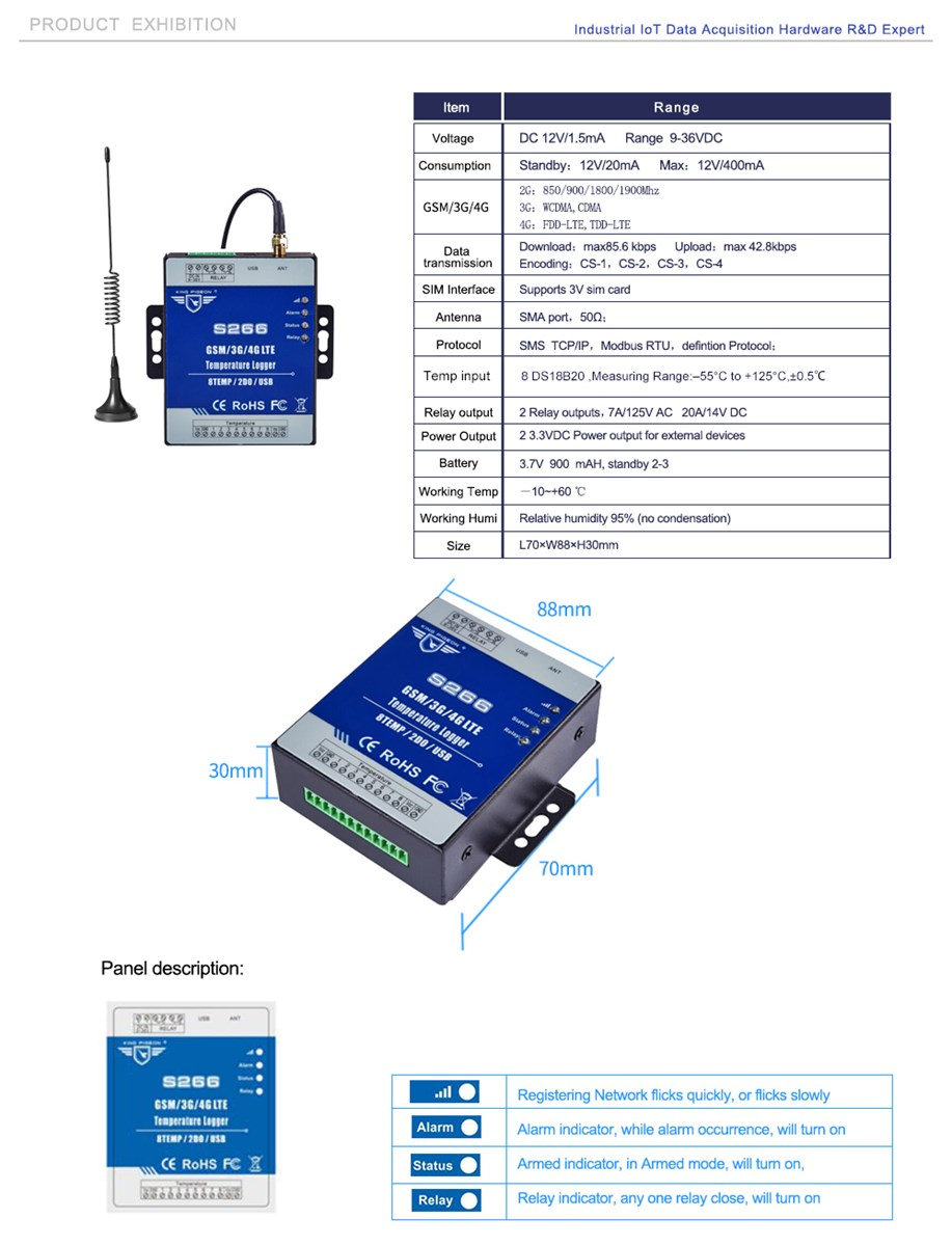 S266 GSM SMS GPRS 3G 4G Temperature Monitoring Relay Output Alarm Data Logger IOT Gateway