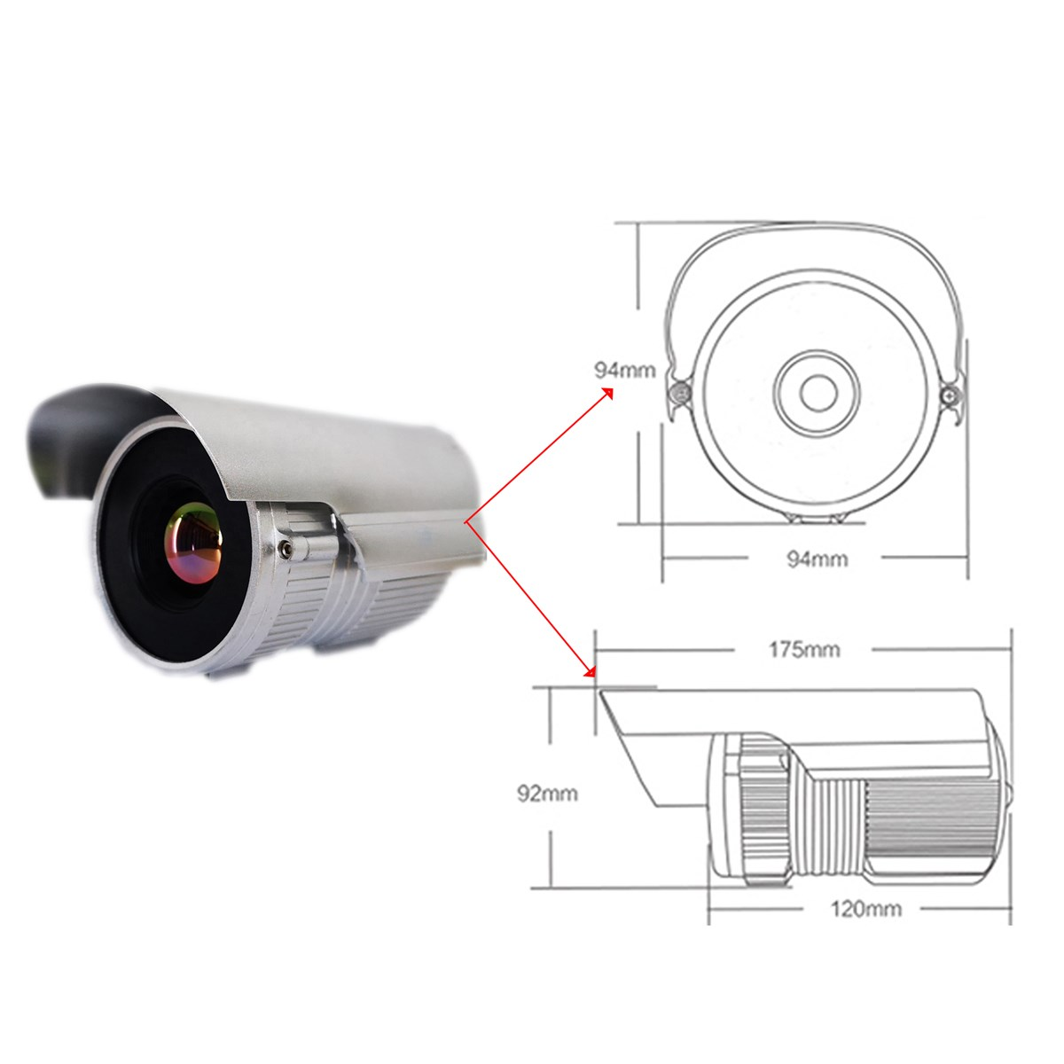 uncooled infrared thermal imaging cctv surveillance IP camera