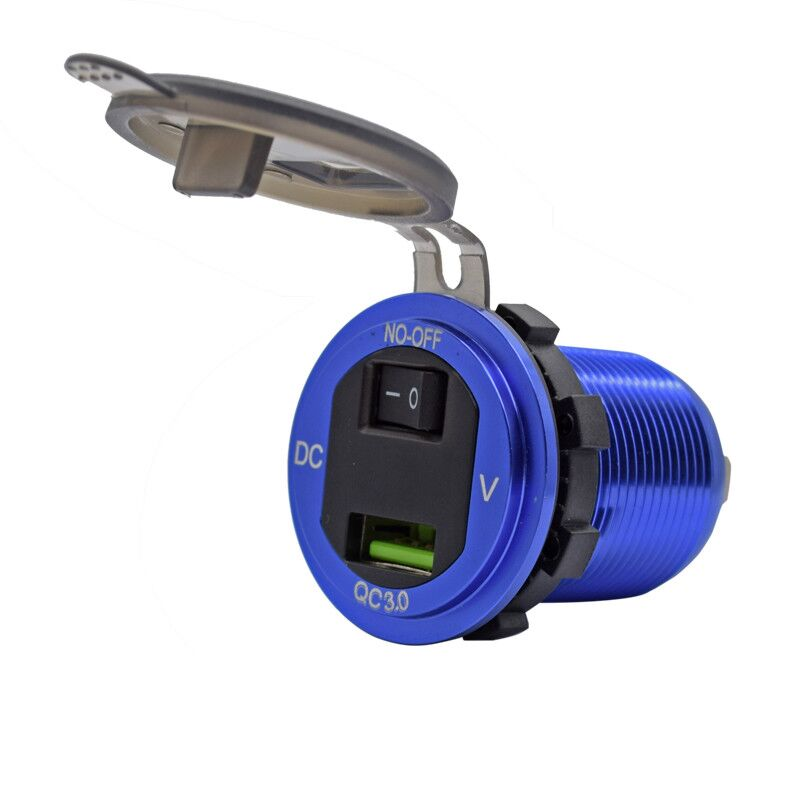 12V24V Waterproof QC30 USB car Charger with Voltmeter and OnOff Switch for Car Boat Motorcycle Marine