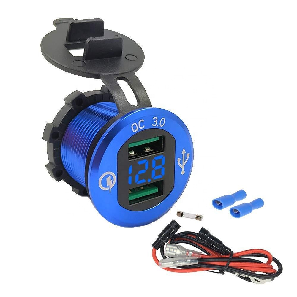Waterproof QC30 Dual USB Charger Socket with Voltage LED Digital Display for Car Boat Motorcycle