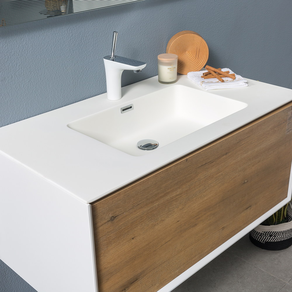 Wood white floating single bathroom vanity TONAcom